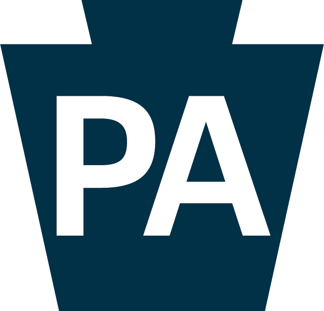 Blue Keystone symbol with the white letters PA inside