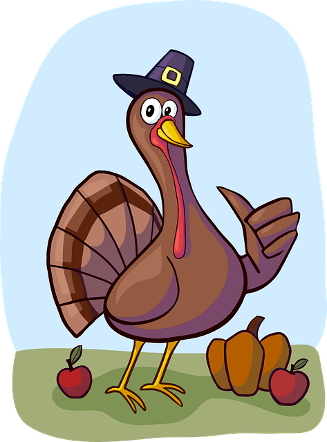 Comical Turkey with pilgrim hat on and pumpkin and apples by his feet.jpeg