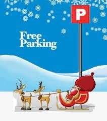 Parking sign with Santa, Sleigh and Reindeer standing underneath