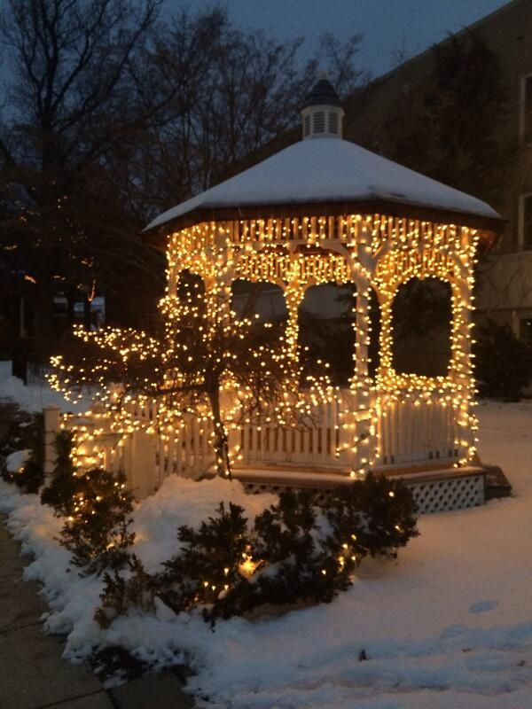 Wolcott Park with Lights in Winter